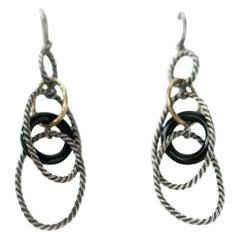 David Yurman Earrings in Sterling Silver, 18 Karat Yellow Gold and Onyx