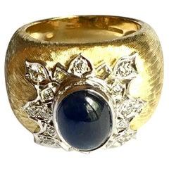 Cabochon Sapphire and Diamond Textured Bombé Ring
