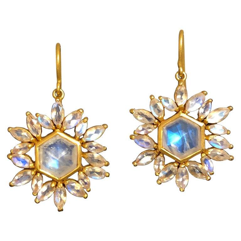 Lauren Harper Moonstone Gold Earrings