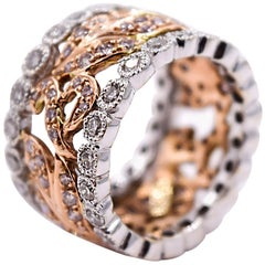 Sethi Couture 2.50 Carat Vine Band in 18 Karat Rose and White Gold Fashion Ring