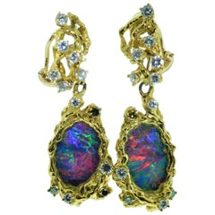 Arthur King Opal Earrings Set with Opal and Diamonds and Fancy Colored Diamonds