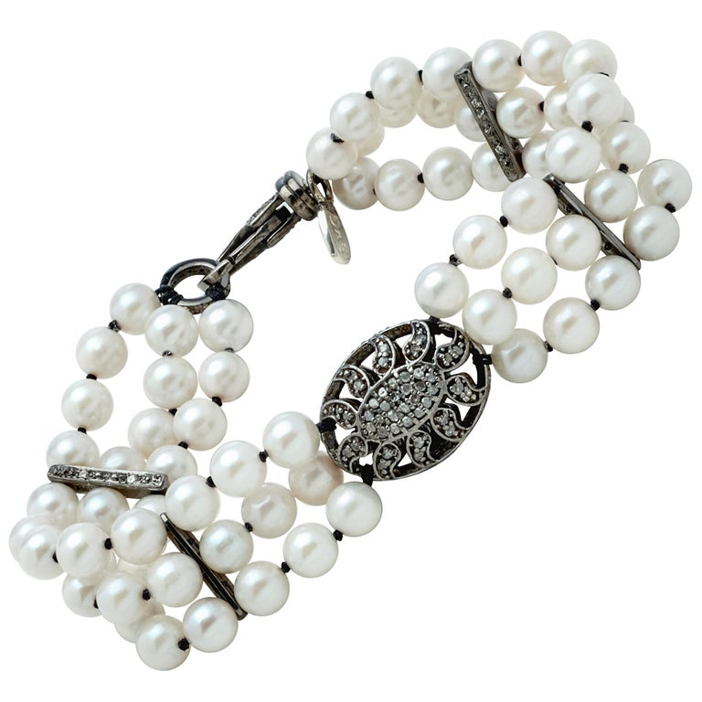 Akoya Pearl Multi-Strand Bracelet with Sterling Silver and Diamond Puff Charm