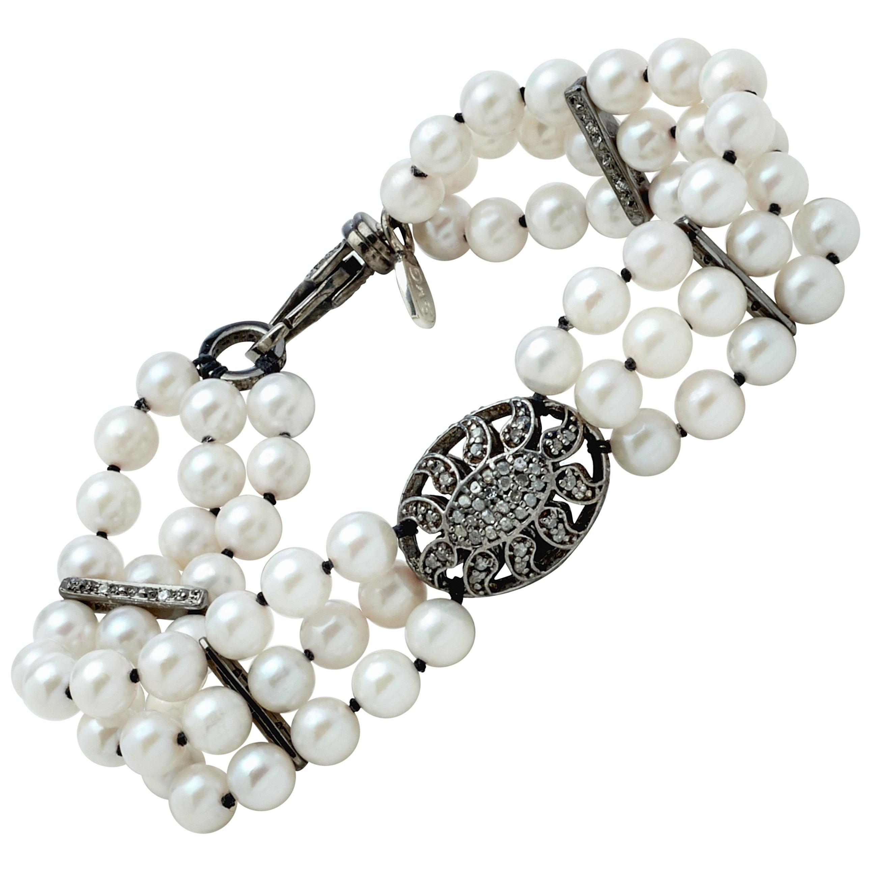Akoya Pearl Multi-Strand Bracelet w Sterling Silver and Diamond Puff Charm