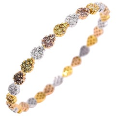 Vivaan 5.89 Carat Multicolored Diamond Bangle in 18K Rose White and Yellow Gold
