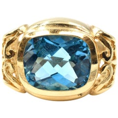 10.25 Carat Blue Topaz 14 Karat Yellow Gold Ring