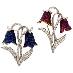 Set of Two Diamond Sapphire Ruby Flower Brooches