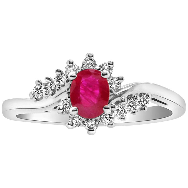 0.48 Carat Oval Ruby and Diamond Ring