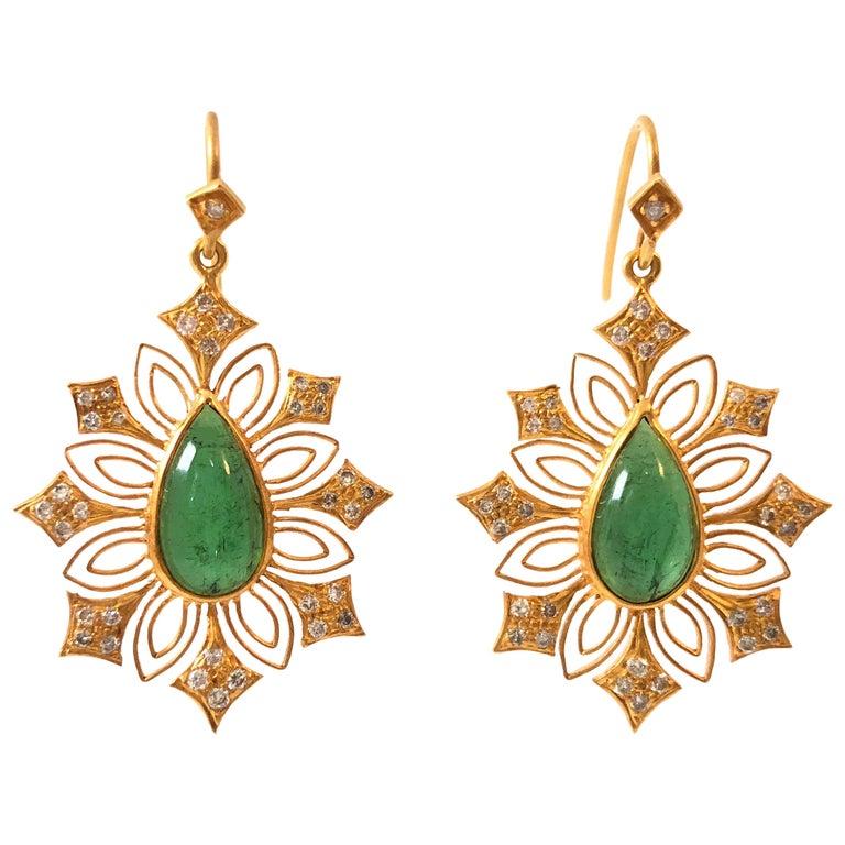 Lauren Harper Green Tourmaline Diamond Gold Earrings