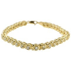 1.02 Carat Round Brilliant Diamond Tennis Bracelet 14 Karat Yellow Gold