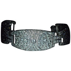 Antique French Platinum Bracelet Set with 16.80 Carat of Old Cut Diamonds