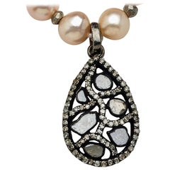 Blush Akoya Pearl Necklace with Teardrop Diamond Sterling Silver Pendant