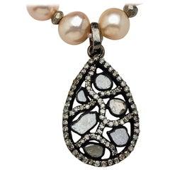 Blush Akoya Pearl Necklace with Teardrop Diamond Sterling Silver Pendant
