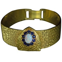 Ladies Omega Deville Wristwatch in Yellow Gold with Opal and Sapphires