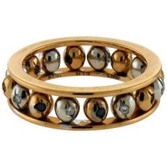 Crivelli 18 Karat Gold Diamond Rolling Balls Ring