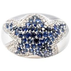 18 Karat White Gold Diamond and Sapphire Star Ring