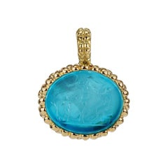 18 Karat Yellow Gold Paraiba Blue Pendant