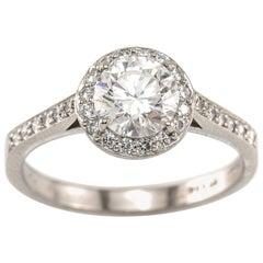 Tiffany & Co. 1.00 Carat GIA Diamond with Diamond Halo Platinum Legacy Ring