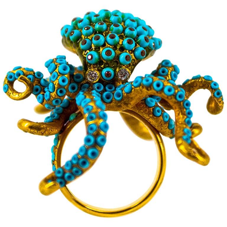 """0.90 Carat White Diamond Garnet Turquoise Yellow Gold """"Octopus"""" Cocktail Ring"""