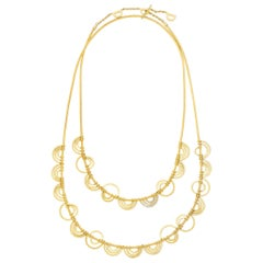 Cadar Duality Wrap Necklace, 18 Karat Gold and White Diamonds, 24 Beads