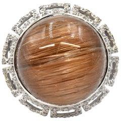 18 Karat White Gold Rutilated Quartz and Diamond Ring