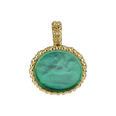 18 Karat Yellow Gold Sea Green Pendant