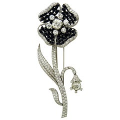 Diamond and Black Jade Platinum Brooch