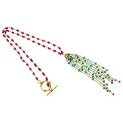 Ruby Aqua Apatite Emerald Peridot Hand Wired Rondell Bead Pendant Necklace