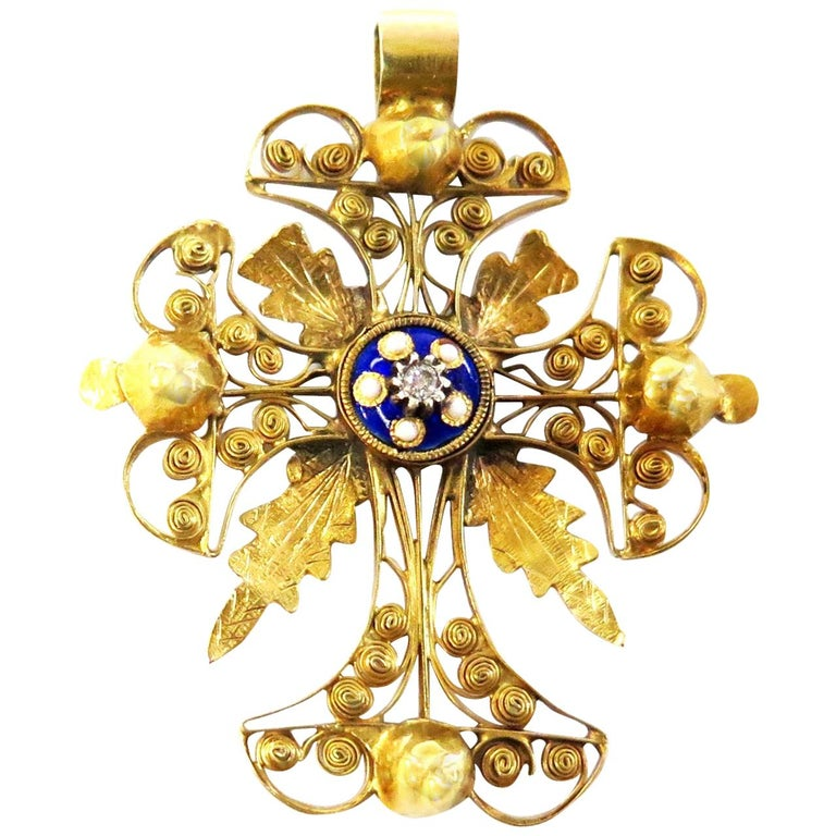 14 Karat Handmade Filigree Yellow Gold Cross with Enamel and Small Diamond