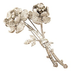 Platinum Diamond Flower Brooch