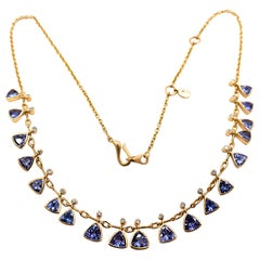 Kanwar Creations 8.86 Carat Tanzanite and Diamond Necklace in 18 Karat Gold