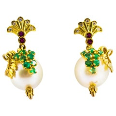 0.40 Carat Emerald Ruby 0.15 Carat White Diamond Pearl Yellow Gold Stud Earrings