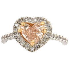 GIA Certified 1.32 Carat Pink Heart Shape Diamond With Halo 18K White Gold Ring