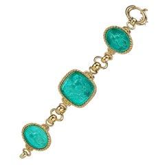 18 Karat Yellow Gold Blue Bracelet