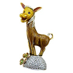 Diamond Ruby Enamel 18 Karat Gold Donkey Pin