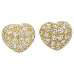 18 Karat Diamond Heart Stud Earrings