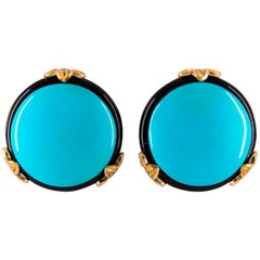 Renaissance 0.20 Carat White Diamond Onyx Turquoise Yellow Gold Clip-On Earrings
