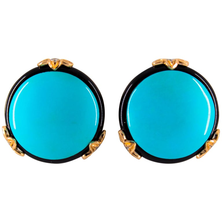 Renaissance 0.20 Carat White Diamond Onyx Turquoise Yellow Gold Clip-On Earrings