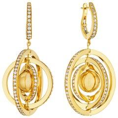 Cadar Duality Earrings, 18 Karat Yellow Gold and White Diamonds