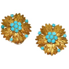 Elegant Cartier Gold and Turquoise Ear Clips