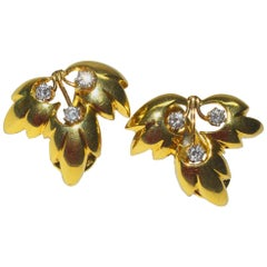 Classic Tiffany & Co. Diamond and Gold Leaf Ear Clips