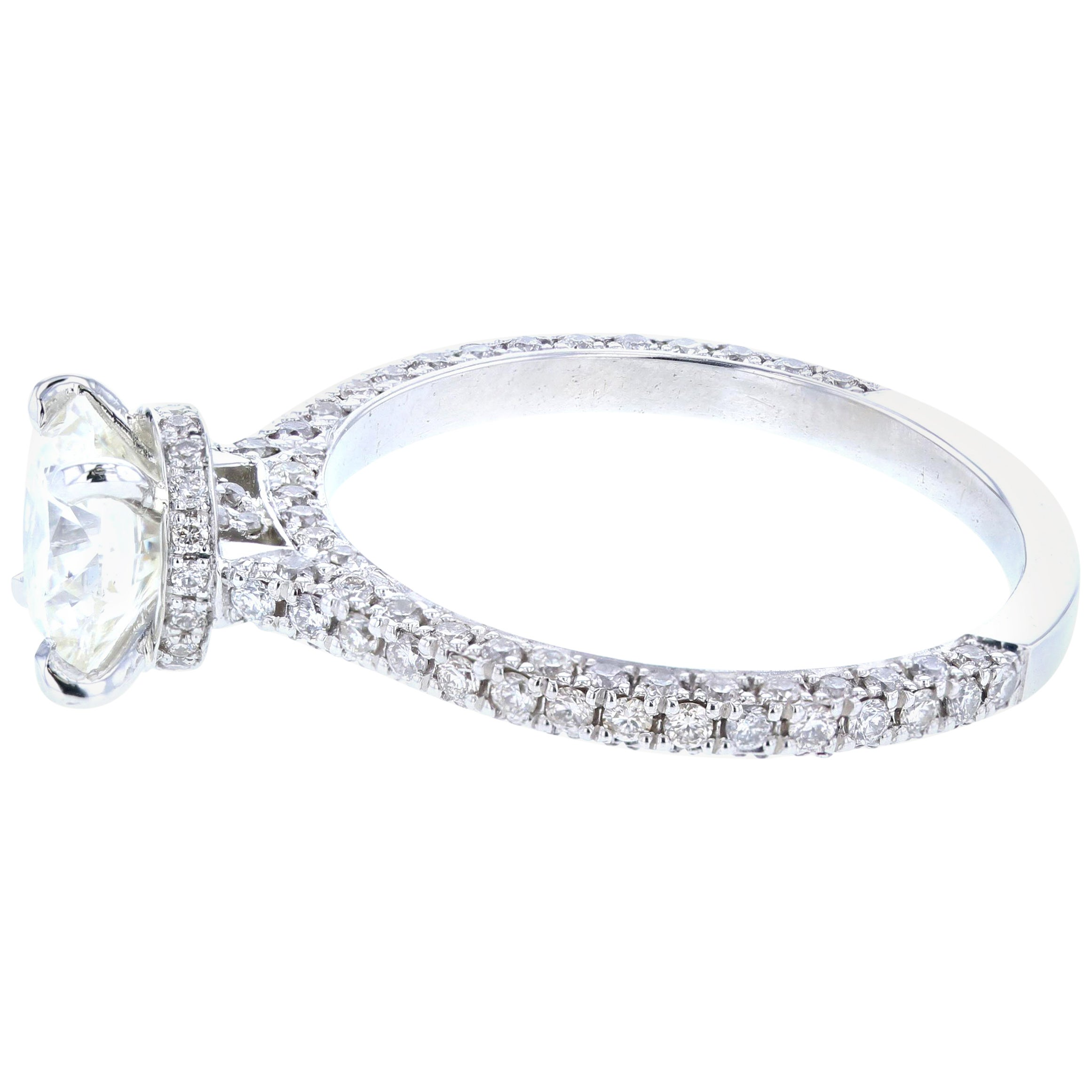 Hidden Halo Round Diamond Engagement Ring 'Certified' Platinum Diamond Setting