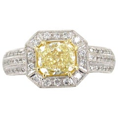 2.09 Carat Yellow Diamond 18 Karat Two-Tone Gold Engagement Ring