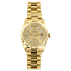 Rolex President 18 Karat Yellow Gold Diamond Dial Watch Reference Number 18038