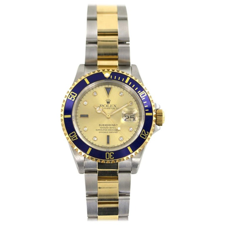Rolex Submariner Date Two-Tone Watch with Papers Reference 16613