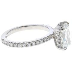 Hidden Halo 2 Carat Radiant Diamond Engagement Ring in Platinum 'Certified' Plat