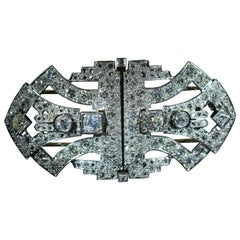 Platinum Double Clip Brooch Set with 6 Carat of Diamonds