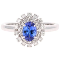 0.93 Carat Oval Cut Tanzanite Diamond 14 Karat White Gold Ring