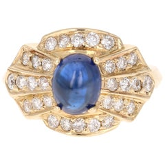 2.80 Carat Sapphire Diamond 14 Karat Yellow Gold Ring