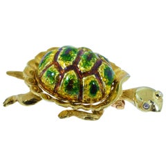 Karbra Turtle Brooch with Enamel and Diamond Eyes