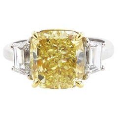 GIA Certified 4.02 Carat Fancy Yellow Cushion Cut Diamond Engagement Ring